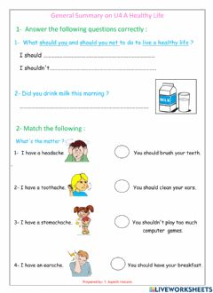Interactive worksheet General Summary on a healthy life