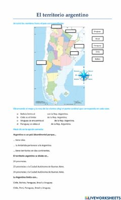 Interactive worksheet El territorio argentino