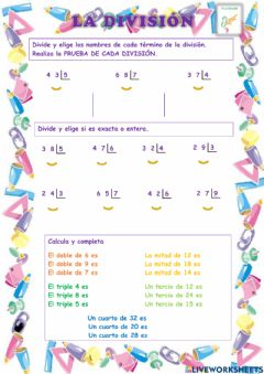 Interactive worksheet División 2