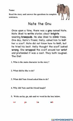 Interactive worksheet Silent Letters