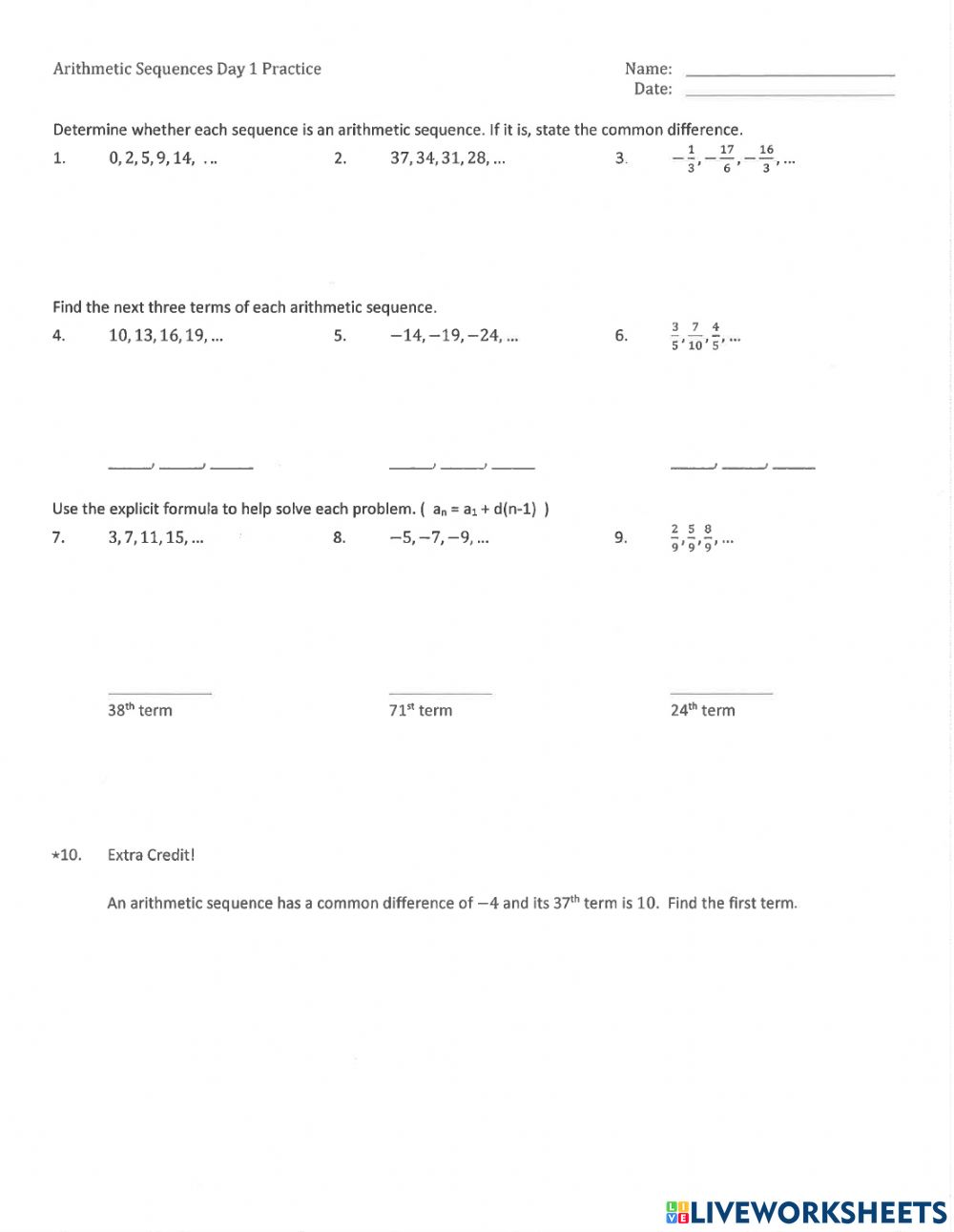 Arithmetic Sequences Practice worksheet In Arithmetic Sequence Worksheet Answers