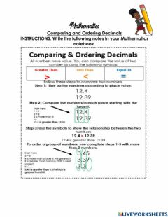 Interactive worksheet Comparing & Ordering Decimals