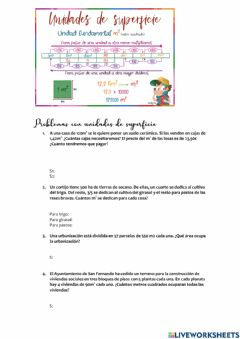 Interactive worksheet Problemas con unidades de superficie
