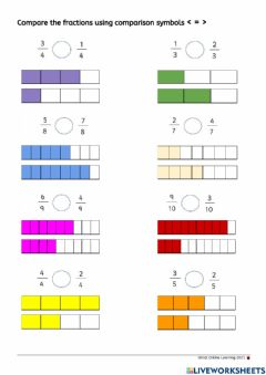 Interactive worksheet Compare Fractions with same denominator