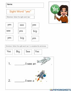 Interactive worksheet Sight Word 'YES'