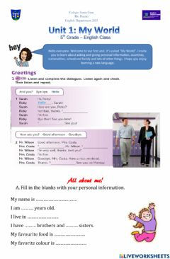 Interactive worksheet 5th grade all about me