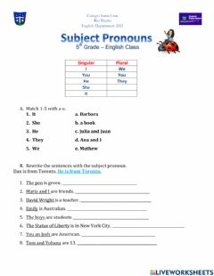 Interactive worksheet Subject pronouns 5th grade
