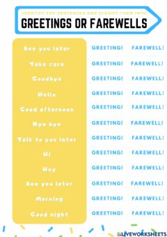 Ficha interactiva Greeting or farewell