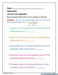Interactive worksheet Tens and Ones to 70