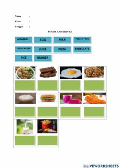 Interactive worksheet Foods and drinks