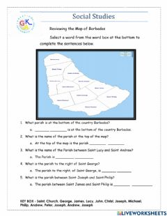 Interactive worksheet Map of Barbados Review