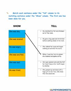 Interactive worksheet Show and Don't Tell