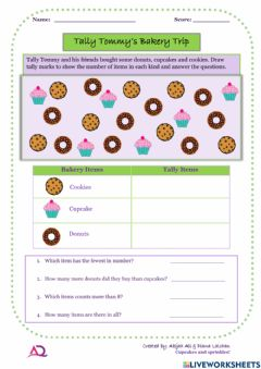 Interactive worksheet Tally Tommy's Bakery Trip
