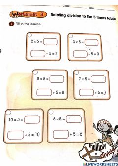 Interactive worksheet Dividing by 5