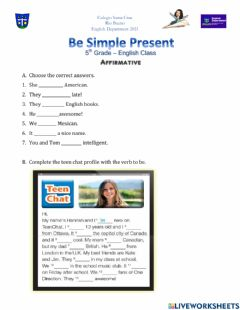 Interactive worksheet Verb to be affirmative