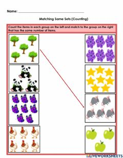 Interactive worksheet Same As (Count and Match)