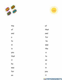 Interactive worksheet Fry Words: First 14