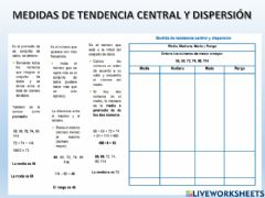 Ficha interactiva Medidas de tendencia central y dispersión