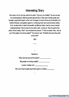 Interactive worksheet Interesting Story