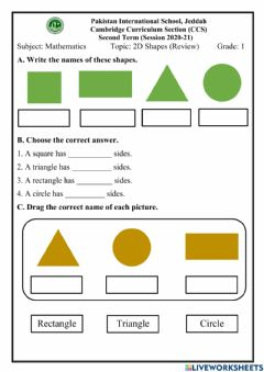 Interactive worksheet 2D Shapes (Review)