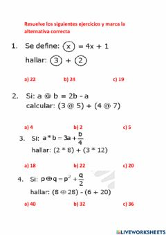 Interactive worksheet Operadores matematicos