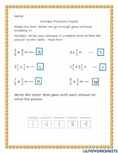 Interactive worksheet Multiply Fractions Puzzle