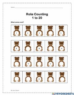 Interactive worksheet Counting 1 to 20