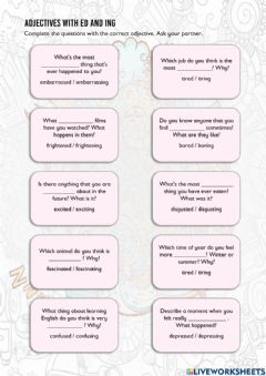 Ficha interactiva Adjectives with ed and ing