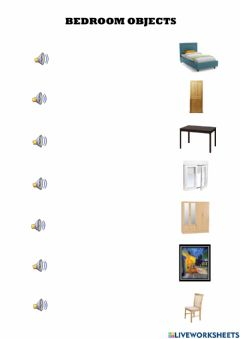 Interactive worksheet Objects in the bedroom