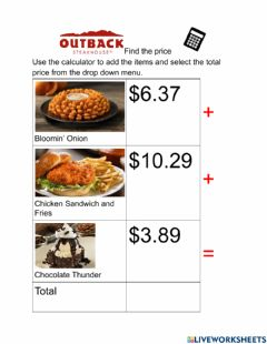 Interactive worksheet Find the price Outback Steakhouse