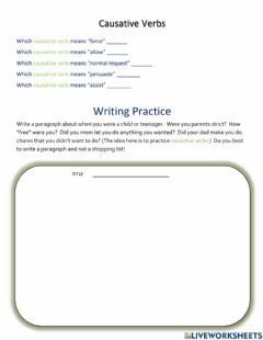 Interactive worksheet Writing About Childhood
