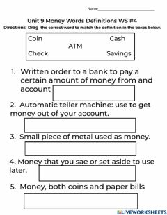 Interactive worksheet Unit 9 Money Words Drag and Drop WS-4