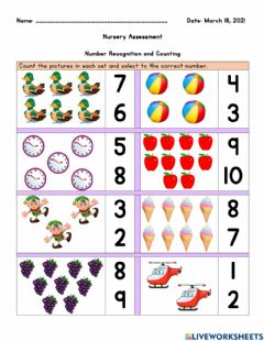 Interactive worksheet Nursery Assessment- Numbers and Counting