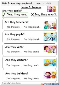 Interactive worksheet Are they teacher?