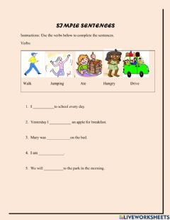Interactive worksheet Simple sentence