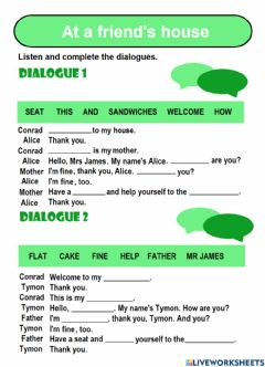 Interactive worksheet At a friend's house