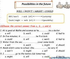 Interactive worksheet Will, might,could