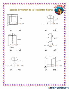Interactive worksheet Volumen prismas