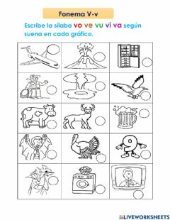 Interactive worksheet Fonema V-v