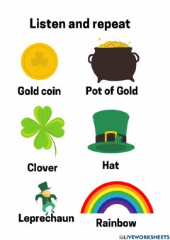 Interactive worksheet Vocabulary Saint Patric Day