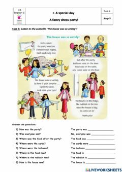Interactive worksheet A special day: Step 5, Task 6