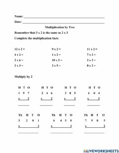 Interactive worksheet Multiplication by 2