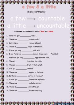 Interactive worksheet A few, a little, much, many, a lot of