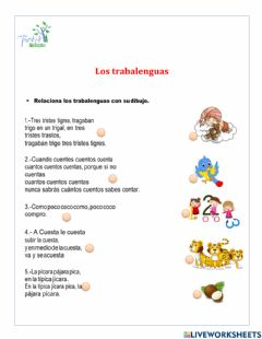 Interactive worksheet Los trabalenguas