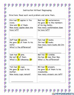 Interactive worksheet 2 Digit Subtraction Without Regrouping