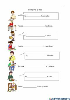 Interactive worksheet Completa le frasi