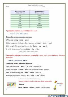 Interactive worksheet Super Goal 4 U:2