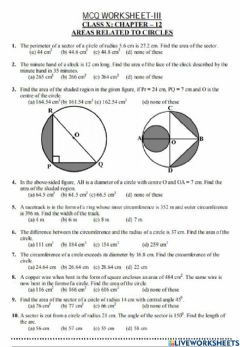 Interactive worksheet Area related to circle