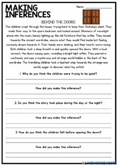Interactive worksheet Making Inferences and Drawing Conclusions