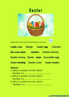 Interactive worksheet Easter with video